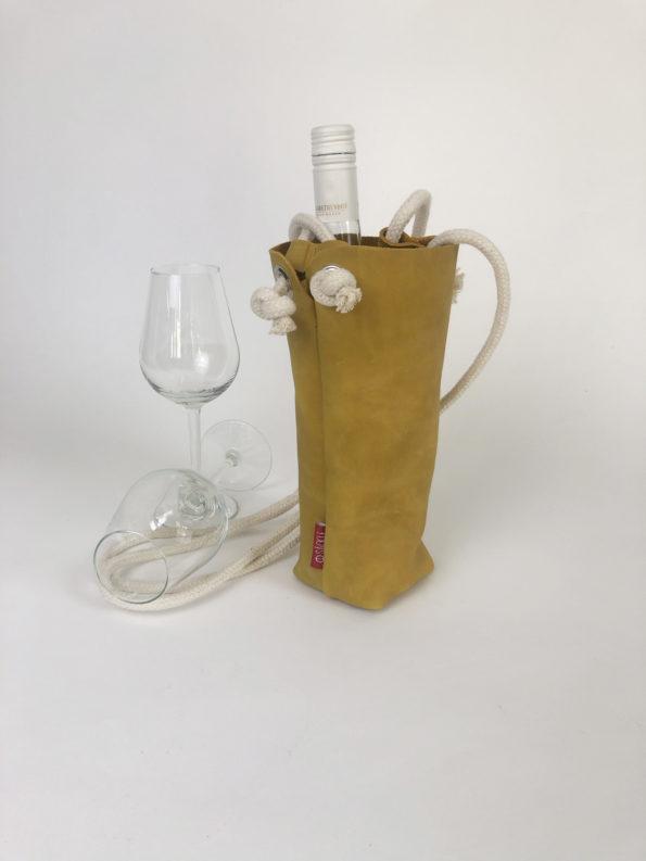 Weinsäckle-Weingeschenk-Weintasche-Ledertasche