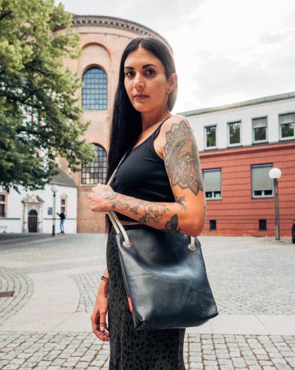 Echtleder-Handtasche-Glattgenarbtes-Leder-Crossovertasche