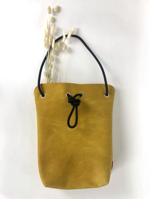 Schultertasche-Ledertasche-Handtasche-Wandelbare-Tasche-Echtledertasche-Senfgelb